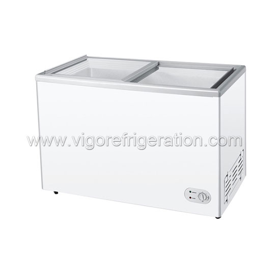 310L CE Certification and Single-temperature Style GLASS DOOR chest freezer,