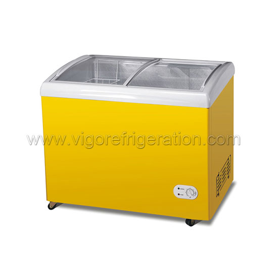 255L curved glass door chest freezer
